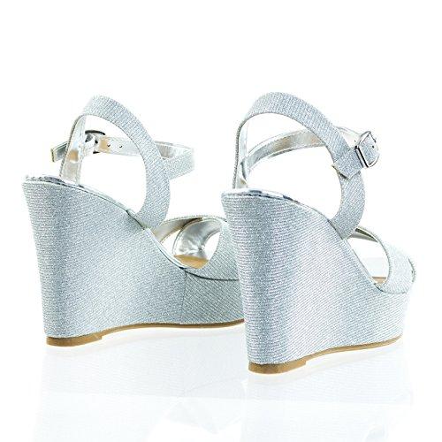 Bamboo Open Toe Platform Wedge Sandal w Mesh Glitter Silver CNM96q