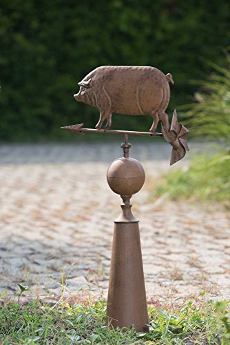 Weathervane Outdoor Decor (Sunjoy 110310001 Vintage Pig Weather Vane Made of Metal with Rust Finish,)
