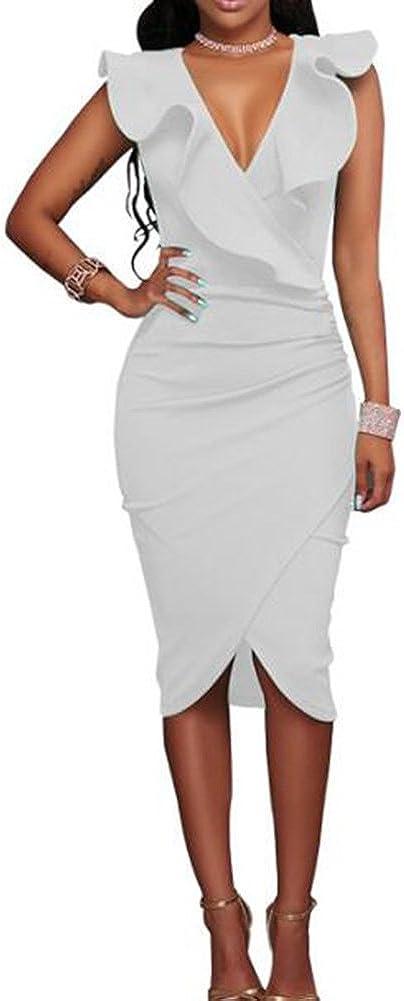 TALLA S. Hibote Vestidos a Media Pierna con Volantes sin Mangas de la Fiesta de Las Mujeres Blanco S