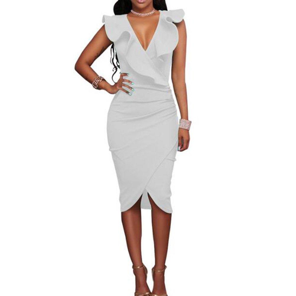 TALLA L. Hibote Vestidos a Media Pierna con Volantes sin Mangas de la Fiesta de Las Mujeres Blanco