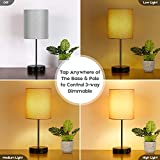 2-Pack Touch Control 3-Way Dimmable Grey Bedside