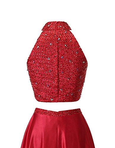 Alagirls Haut Des Femmes Cou Deux Robes De Bal De Perles Pièce Longue Robes De Soirée En Satin Rougissent