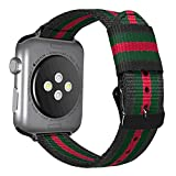 Autulet for Nylon Watch Straps for Apple Watch Band Comfortable 38mm/40mm Woven Nylon Iwatch Band Series 1/2/3/4 Sport Black/Green/Red