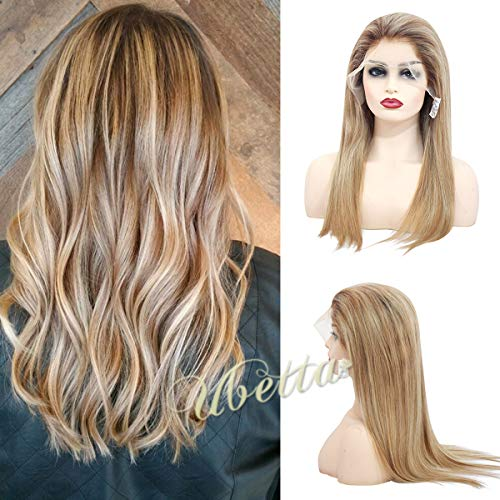 Wig Golden Hair Blonde - Human Hair Balayage Lace Front Wig Dip Dyed Color Brown to Golden Brown with Blonde Highlights Wig Brazilian Remy Hair Glueless Lace Frontal Wig for White Women 150% Density Full Head 14 Inch