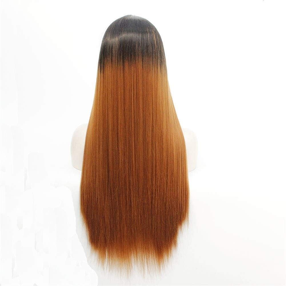 HuiLai Zhang Perruque européenne et féminine en dentelle avec dégradé de couleur (couleur : 40,6 cm) 50,8 cm.