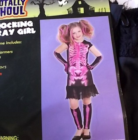 Shocking Xray Girl Skeleton Pink Black Child Costume M 8-10 NWT (Xray Skeleton Kids Costume)