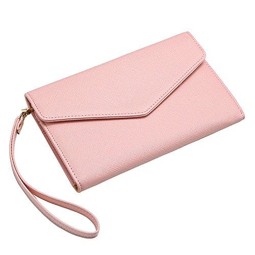 Krosslon Travel Passport Wallet for Women Rfid Wristlet Slim Family Document Holder, 205 Pastel Pink by KROSSLON (Image #6)