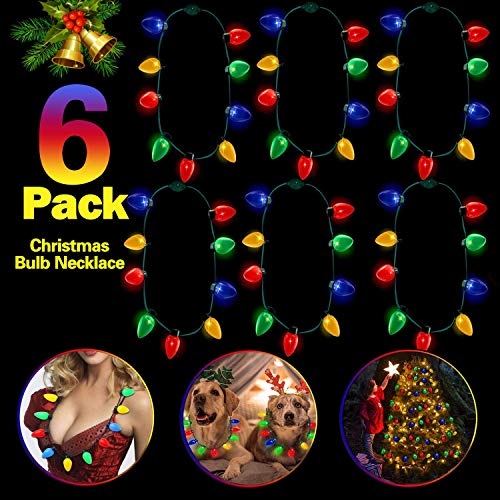 - SIXONE Christmas Lights Necklace 7 Pack LED Bulb Necklace Flashing String Lights Necklace Christmas Decoration Light Up Toys Glow In The Dark Party Favors for Kids 6 Flash Modes(Batteries Included)