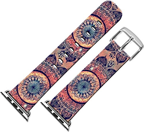 Apple Watch Band Women, Series 1/2/3 Sport & Edition Apple Watch Strap Replacement 38Mm Fantastic Round Floral Art Print - 3 Floral Art