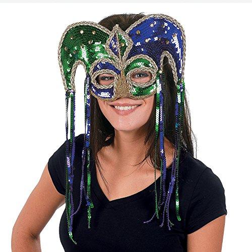 Jester Half Mask - Mardi Gras Sequin Jester Half Mask