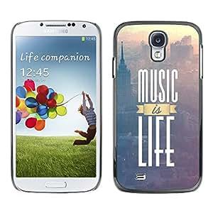 TopCaseStore / la caja del caucho duro de la cubierta de protección de la piel - Music is Life; - Samsung Galaxy S4 I9500