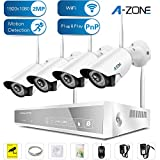 A-ZONE 4CH 1080P NVR Wireless Security Cameras System Kit 4Pcs 1080P WiFi Indoor Outdoor Wireless IP Camera with Night Vision Easy Remote Without Hard Drive