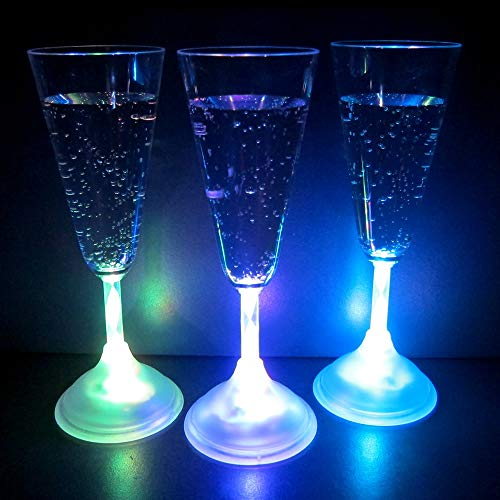 Light Up Champagne Glasses (Set of 6) - 7 oz LED Glowing Champagne Flutes with 8 Color Modes]()