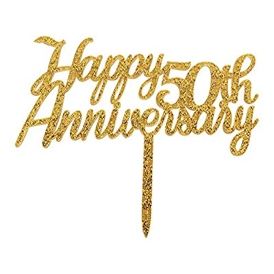 Happy 50th Anniversary Cake Topper,Gold Glitter Cheers to 50 Years Sign,50th Birthday/Wedding Anniversary Party Decorations
