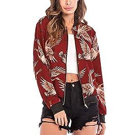 Ramoug Womens Floral Print Long Sleeve Full Zip Up Side Pockets Short Biker Bomber Jacket