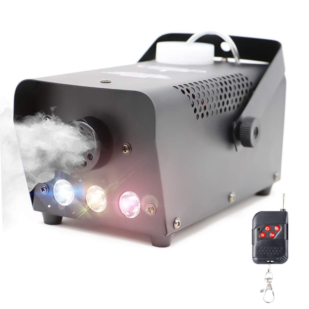 VCOSTORE Poratble RC Fog Machine with 7 Colors LED Lights, 500W High Output Smoke Machine with Wireless Remote Control for Stage Club Party, Weddings, Christmas, Halloween & More LED500