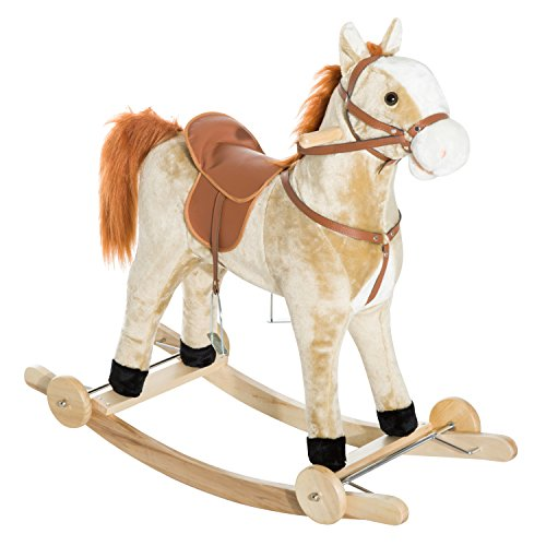 Qaba 2-in-1 Kids Ride On Rolling Plush Toy Rocking Horse with Music - Light Brown 2in 1 Convertible High Chair