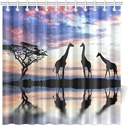 African Shower Curtain Sunset in Safari Animal Print for Bathroom