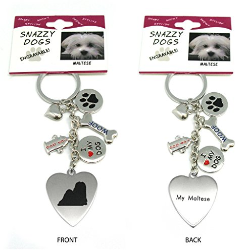 Maltese Keychain - Maltese Keychain for Women, Girls, Boys, Men - Engraved Stainless Steel Dog Key Ring with Charms - Cute I Love My Dog Key Fob Gift - Cute Pet Accessories by Frogsac USA