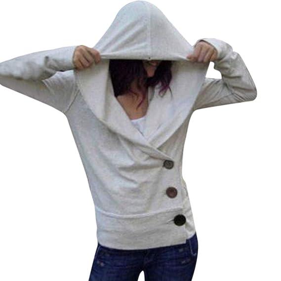 Yvelands Sudaderas Mujeres Pullover, Mujeres Casual Color sólido botón suéter Camiseta Slim Fit Coat Top!: Amazon.es: Ropa y accesorios