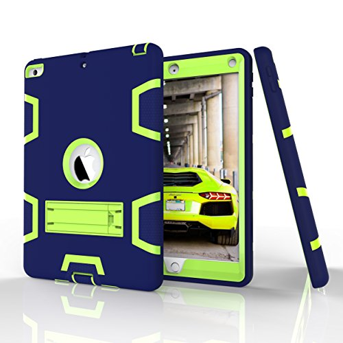 "New iPad 9.7"" (2017) Case, Beimu 3in1 Combo Hybrid Heavy Duty Full-body Armor Defender Shock-Absorption High Impact Resistant PC+Silicone Case with Built-in Kickstand for Apple New iPad 2017 Released"