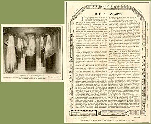 Rare 1915 Article ON Russian Army Bathing-Train Design Original Paper Ephemera Authentic Vintage Print Magazine Ad/Article
