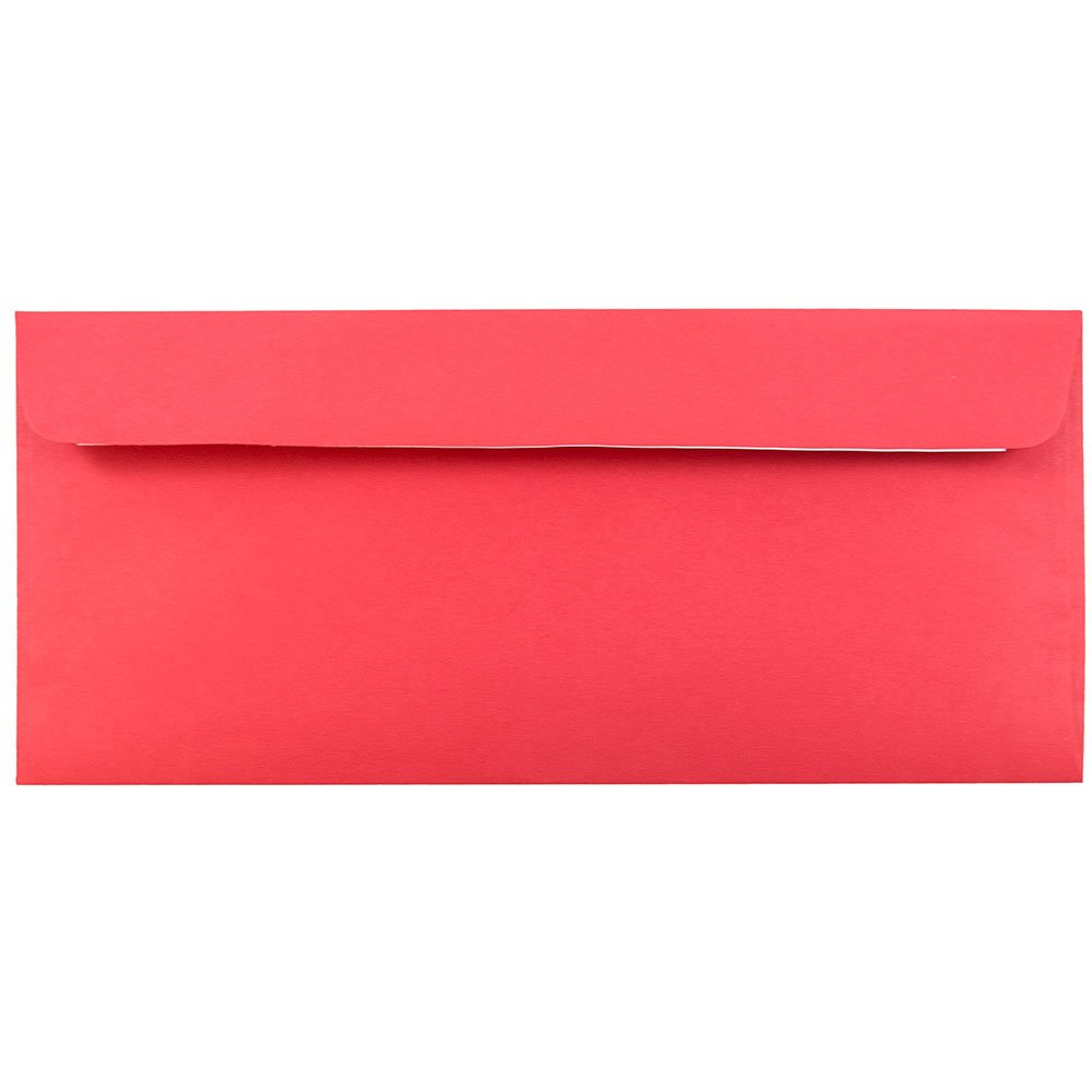 JAM PAPER #10 Business Colored Recycled Envelopes with Peel and Seal Closure - 4 1/8 x 9 1/2 - Red Recycled - Bulk 500/Box