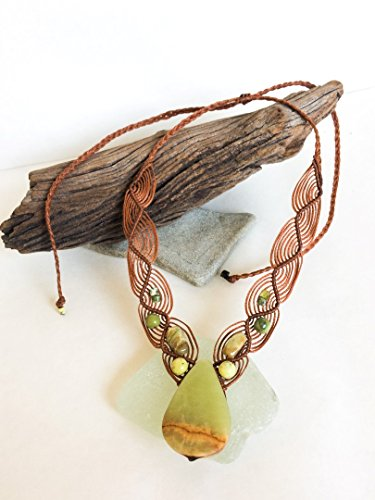 Serpentine macrame necklace, Green stone Macrame necklace, Teardrop Serpentine necklace, green stone necklace, macrame jewelry, Earth tones