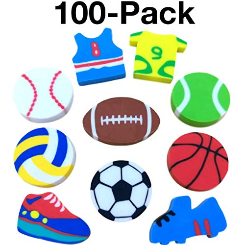 OHill Pack of 100 Sports Pencil Erasers Novelty Erasers for Sports Party Favors for Kids School Classroom Prizes Rewards Valued Pack