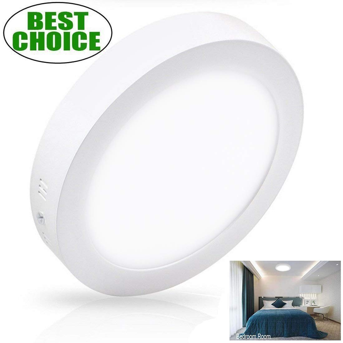 W-LITE 11.81 Inch 24W LED Panel Wall Ceiling Down Lights, Panel Lamp Mount Surface, Round, 5000K/Daylight White, AC 86-265V, 160W Halogen Bulb Equivalent, [Energy Class A+] (24W-1 pack)