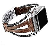 Bandas de cuero de la marca Secbolt compatibles con Apple Watch Band Series 4 1.575in, Series 3/2/1 1.496in, doble giro hecho a mano vintage pulsera de cuero natural correas de repuesto para mujer