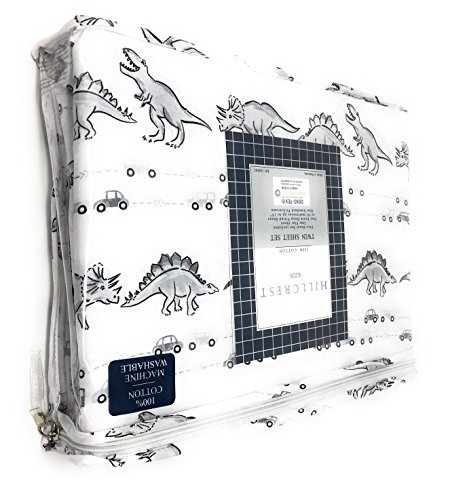 Hillcrest kids Dinosaur in Traffic Gray Scale on White TWIN Sheet Set | 100% Cotton