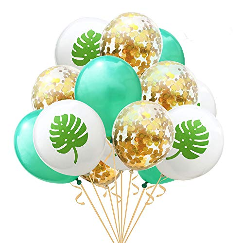 Leaves Party Confetti Balloons,15 Pcs Pineapple Tropical Gold Hawaii Party Latex Party Balloons for Hawaii Luau Party Birthday Wedding Theme Party -