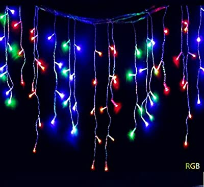 GOESWELL LED Christmas Lights 96LED 4m Icicle Lights String Lights Cool White 110V Fairy Light for Party Christmas Wedding New Year Indoor&outdoor Decoration