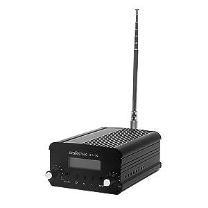 Signstek 7W 7C FM Transmitter Mini Radio Stereo Station PLL LCD with Antenna, Black