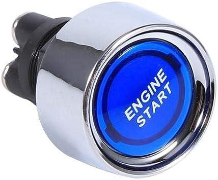 Scocca in acciaio inossidabile argento Pulsante avviamento motore senza chiave auto con interruttore di accensione accensione impermeabile 12V