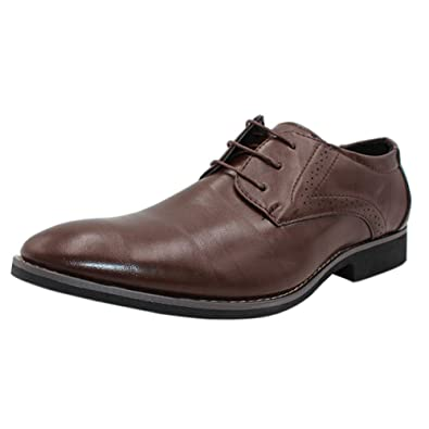 Yudesun Mens Formal Oxford Dress Shoes - Leather Lace Up Classic Pointed  Wedding Fashionable Shoe Business Brogue Toe Derby Office Vintage Flat  ... 527f6b4a65d4
