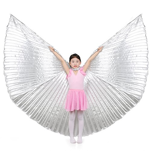 [Dance Fairy Children Belly Dance Isis Wings Costume,Silver(No sticks)] (Cabaret Belly Dancing Costumes)