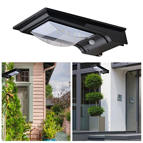 Excelvan 12.5 inch Outdoor Motion Sensor Lighting LED Security Wall Light For Entrance Stair Driveway Balcony Yard Garden with 14 LED Beads, Build-in 4400mah Li-Battery Wireless Auto On/Off (Black)