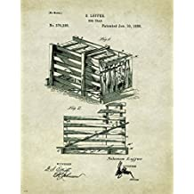 Hog Hunting Dog Trap Pig Wild Boar Patent Poster Art Print 11x14 Wall Decor Pictures
