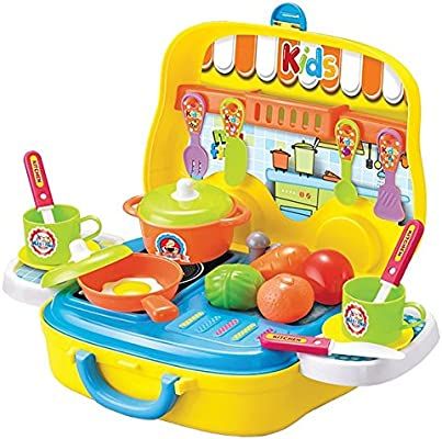 kids portable kitchen play set with 26pc kitchen accessories plus rolling wheels