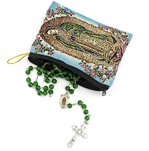 Our Lady of Guadalupe Rosary Gift Set. Includes Our Lady of Guadalupe 8mm Green Bead Rosary and Beautiful Tapestry Rosary Bag
