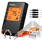 Morpilot Bluetooth Meat Thermometers,Wireless BBQ Thermometer for Smoker,Grill Bluetooth Thermometer Smart Remote Digital Cooking Food with 4 Probes for Grilling Oven Griddle Kitchen