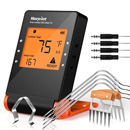 Wireless Grill Thermometer, Morpilot Bluetooth Wifi BBQ Thermometer/Meat Thermometer/Smoker Thermometer with 4 Probes 2 Meat Claws, for Grilling Smoking Oven Kitchen (Multi Grill Wireless Thermometer)