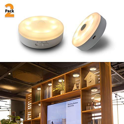 (Bason USB Rechargeable Motion Sensor Wireless Puck Light, LED Night Light,Kitchen Under Cabinet Lighting,Stick-Anywhere for Hallway, Bathroom, Bedroom, Kitchen, etc.- Soft White 3000K, 2-Pack)