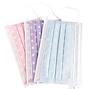 3 Layer Lovely Heart-shaped Print Non-woven Fabric Disposable Surgical Dust Filter Ear Loop Mouth Cover Beauty Nail Salon Face Mask for Kids Children Women Lady (30 PCS, 3 Colors)