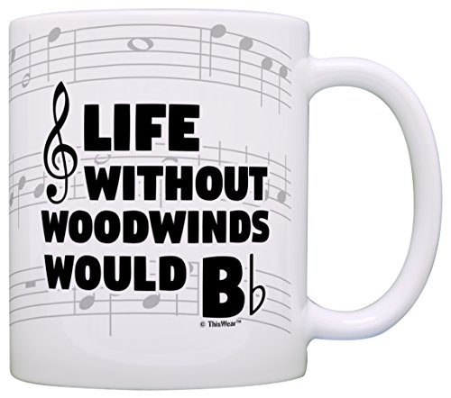 Funny Music Gifts Life Without Woodwinds Would B Flat Flute Oboe Reed Gift Coffee Mug Tea Cup Notes