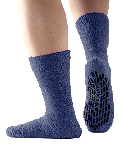 Non Skid/Slip Socks - Hospital Socks - Slipper Socks for Women and Men - Navy (One Size)