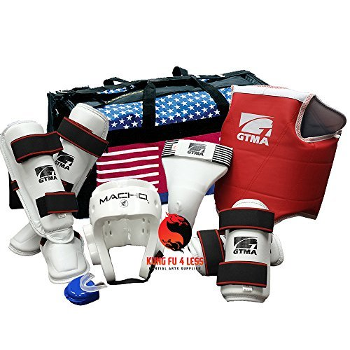 Taekwondo Vinyl Sparring Gear Set with SHIN Instep & Bag - Black - Adult-Small