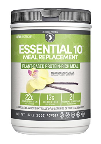 Vanilla Meal - Designer Protein Essential 10 100% Plant-Based Meal Replacement, Madagascar Vanilla, 1.32 Pound